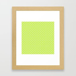 Bright green background with polka dot Framed Art Print