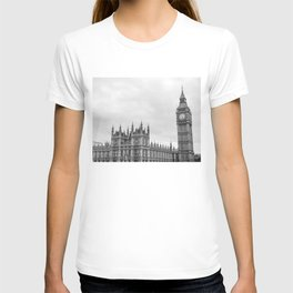 Westminster and Big Ben, London - Black and White T-shirt