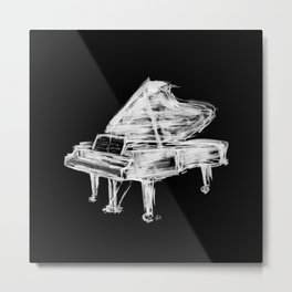 Black Piano Metal Print