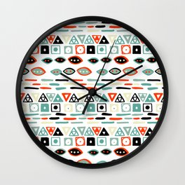 Geometrical modern pastel green ivory red hand painted pattern Wall Clock