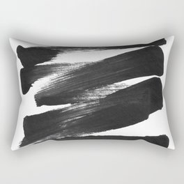 Black Brushstrokes Abstract Ink Painting Rectangular Pillow