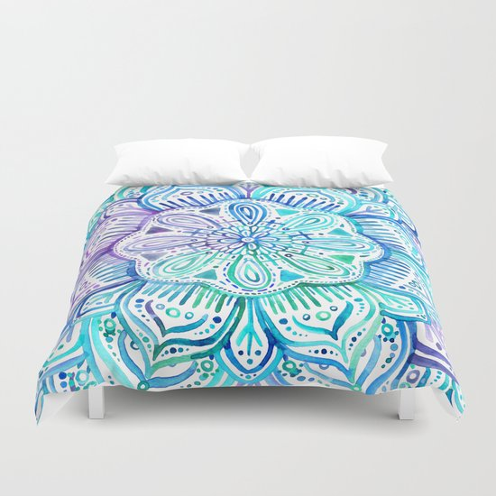 Iridescent Aqua And Purple Watercolor Mandala Duvet Cover