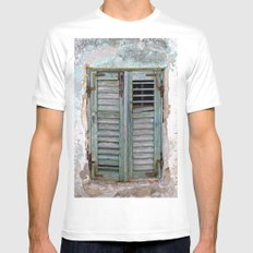 Closed Window Shutters in South Europe SMALL White Mens Fitted Tee