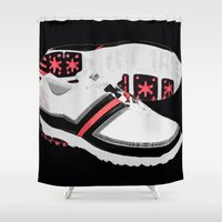 golf Shower Curtains featuring GOLF SHOES by aztosaha