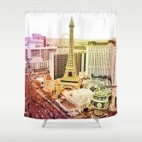 las vegas Shower Curtains featuring Las Vegas by EmilyBest