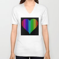 techno V-neck T-shirts featuring Techno Love by JG Designs