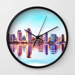 Watercolor of San Diego Skyline at dusk Wall Clock