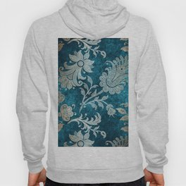 Aqua Teal Vintage Floral Damask Pattern Hoody