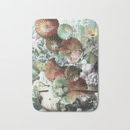 Abstract textured pastel floral still life Bath Mat