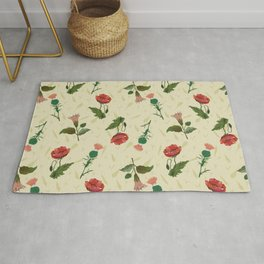 Poppy, thistle and datura flower on a light yellow grassy background. Rug