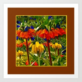 COFFEE BROWN YELLOW & ORANGE CROWN IMPERIALS GARDEN Art Print