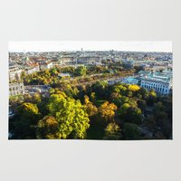 vienna Area & Throw Rugs featuring my hometown of Vienna by MehrFarbeimLeben