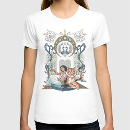 Every Girl Is A Princess 03: Arabian Nights Art Nouveau Aladdin's Princess Jasmine and Rajah T-shirt