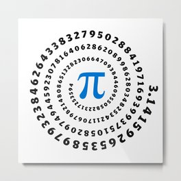 Pi, π, spiral, science, mathematics, math, irrational number, sequence, Metal Print