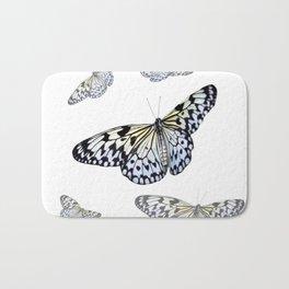 DESIGN OF FLUTTERING BLACK & WHITE BUTTERFLIES  ART Bath Mat