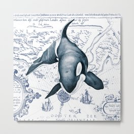 Orca Ancient Map Metal Print