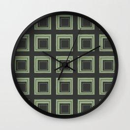 Green Squares Wall Clock