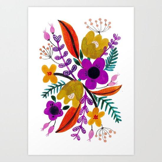 Gouache Florals Art Print