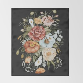 Roses and Poppies Bouquet on Charcoal Black Decke