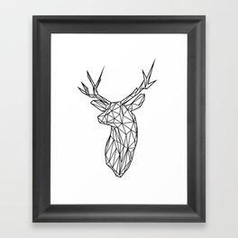 Black Line Faceted Stag Trophy Head Framed Art Print