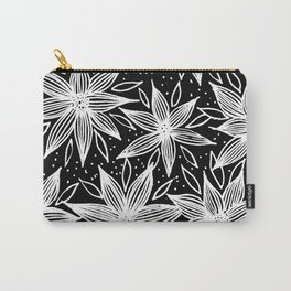 White Flower Pattern on Black Background Carry-All Pouch