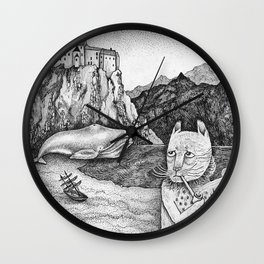The Whale, The Castle & The Smoking Cat Wall Clock