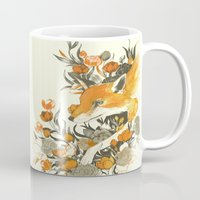 youtube Mugs featuring fox in foliage by Teagan White