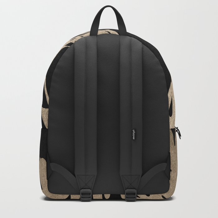 Simply Palm Leaves in White Gold Sands on Midnight Black Backpack