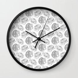 Black And White Peony Pattern Wall Clock