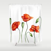 poppies Shower Curtains featuring Poppies by Julia Badeeva