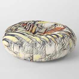 1177s-AK Erotica in the Style of Kandinsky Fingers on Pubis Striped Nude Floor Pillow