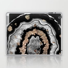 Gray Black White Agate with Gold Glitter on Black #1 #gem #decor #art #society6 Laptop & iPad Skin