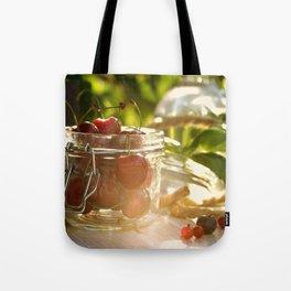 Fresh cherrie in glass Tote Bag