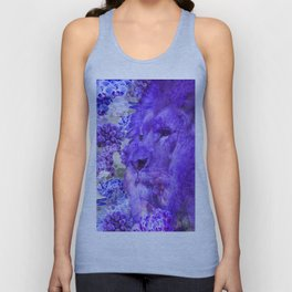 LION AND ORCHIDS  PURPLE AND BLUE FANTASY DREAM Unisex Tank Top
