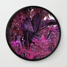 Pink red alien planet tree bright Wall Clock