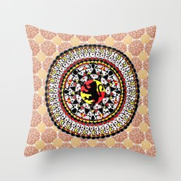 Gryffindor Orange and Maroon Mandala Throw Pillow