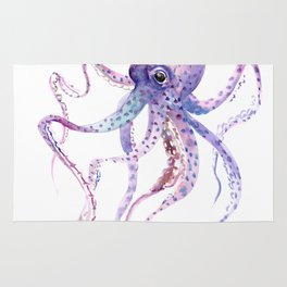 Octopus, soft purple pink aquatic animal design Rug