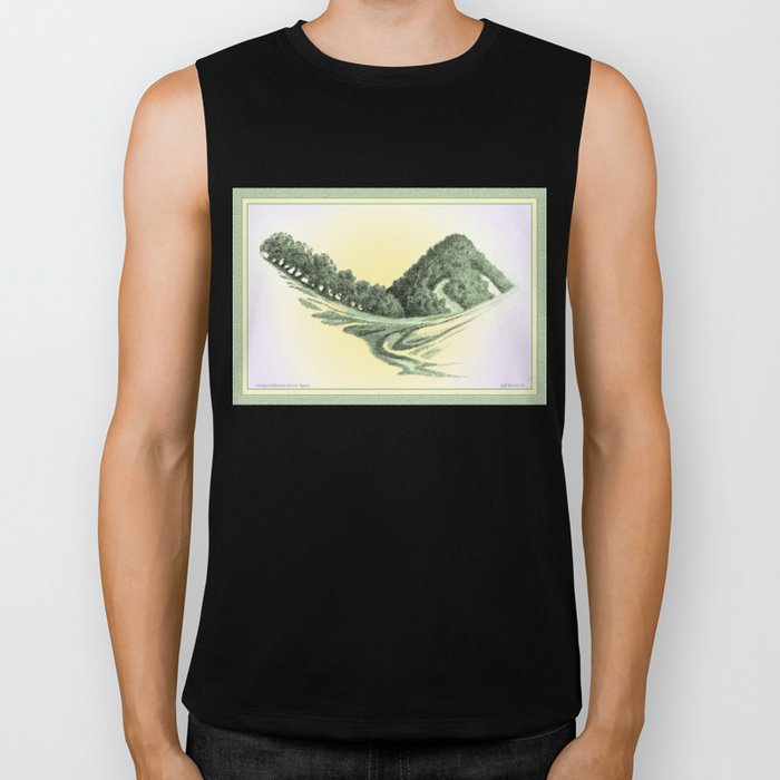 SEEING CALIFORNIA GREEN AGAIN COLORED VINTAGE CHARCOAL DRAWING Biker Tank
