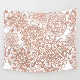 Rose Gold Mandala Pattern Wall Tapestry