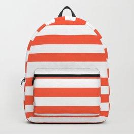 Living Coral Beach Hut Horizontal Stripe Fall Fashion Backpack