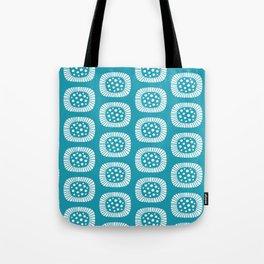 Mid Century Modern Atomic Sunburst Cerulean Tote Bag