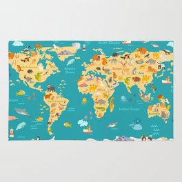 Animal map for kid. World vector poster for children, cute illustrated Rug