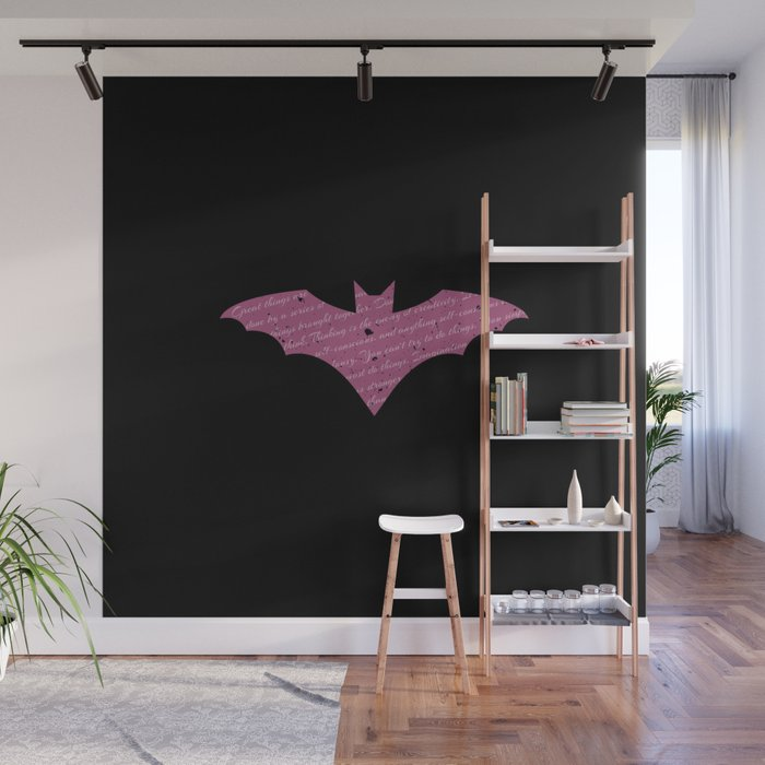 Purple Bat Paint Splatter Wall Mural