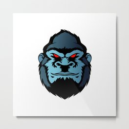 blue gorilla head Metal Print