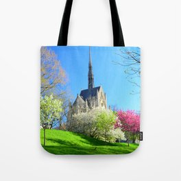 Heinz Chapel in Pittsburgh with Spring blossoms 13 Tote Bag