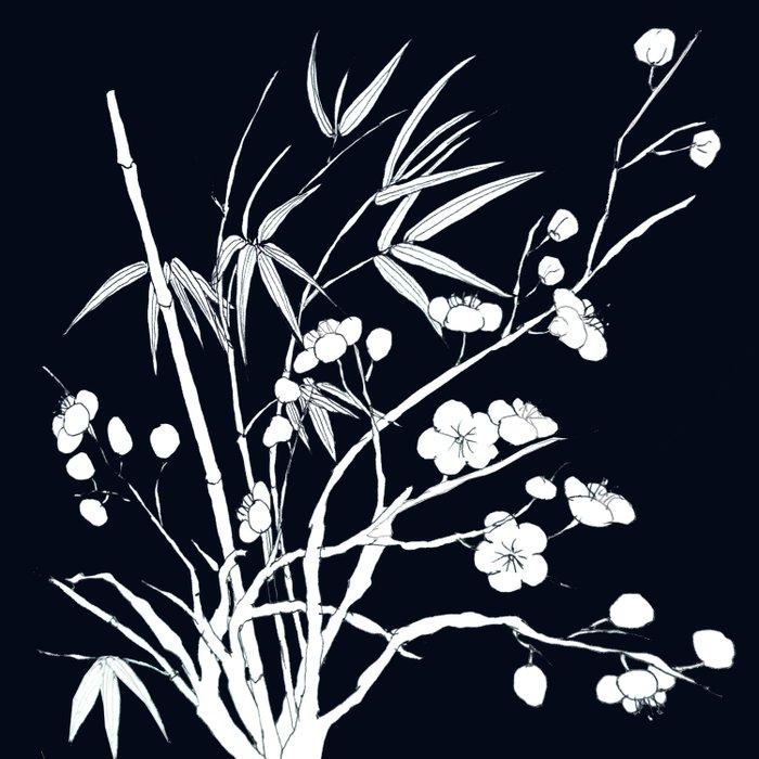 bamboo and plum flower white on black Duvet Cover