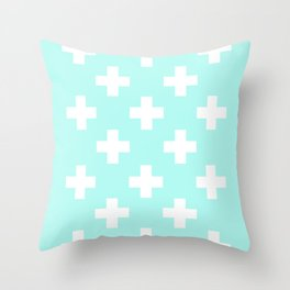 mint and cross Throw Pillow