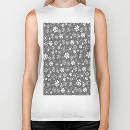 Snowflake Snowstorm With Silver Grey Gray Background Biker Tank