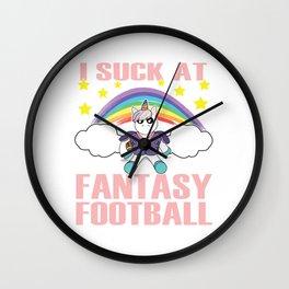 Perfect for Football fanatics with a Unicorn Rainbow Tee I Suck At Fantasy Football Rainbow Unicorn. Wall Clock
