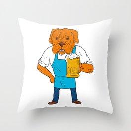 Bordeaux Dog Brewer Mug Mascot Cartoon Throw Pillow